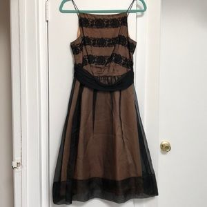 Beautiful silk and lace black and nude dress